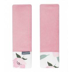 Dreamy babakocsi öv védőpánt - Virágok ekrü rózsaszín velvettel