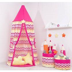 Baldachin sátor - Cikk cakk pink