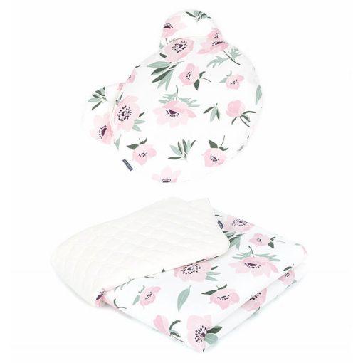 Dreamy babaágynemű szett Maci párnával  - Virágok ekrü velvettel