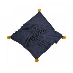 Royal bambusz kötött takaró - Sötétkék kapucnival