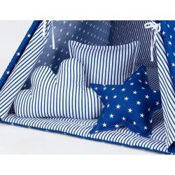 Csíkok-csillagok kék formapárnák