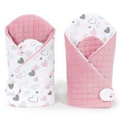 Velvet steppelt pólya - Szívecskék rózsaszín steppelt velvettel