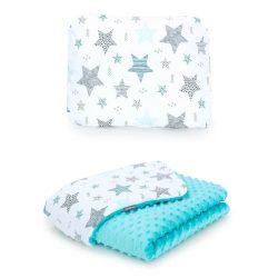 Minky takaró és párna szett  - Csillagmix türkiz minkyvel