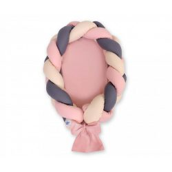 Fonott babafészek - Bézs-grafit-pasztell rózsaszín
