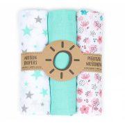 Dreamy muszlin textil pelenkacsomag - Menta és rózsaszín variáció