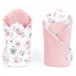 Velvet steppelt pólya - Virágok ekrü rózsaszín steppelt velvettel
