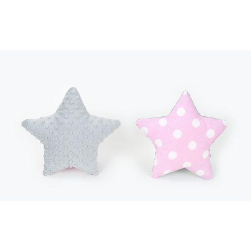 Dreamy csillag formapárna - Pöttyös rózsaszín szürke minkyvel