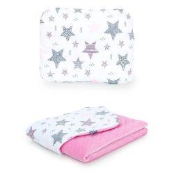 Steppelt bársonyos velvet takaró és párna szett  - Csillagmix rózsaszín velvettel