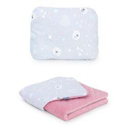 Steppelt bársonyos velvet takaró és párna szett  - Jegesmedve szürke rózsaszín velvettel