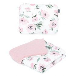 Steppelt bársonyos velvet takaró és párna szett  - Virágok ekrü rózsaszín velvettel
