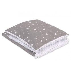 Minky takaró és párna szett  - Mini fehér csillagok