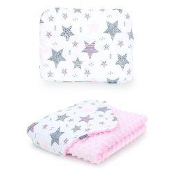Minky takaró és párna szett  - Csillagmix rózsaszín minkyvel
