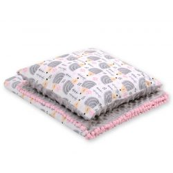 Minky takaró és párna szett  - Sünis szürke