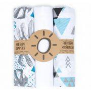 Mintás muszlin textil pelenkacsomag - Szürke menta leveles variáció