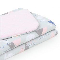 Steppelt bársonyos velvet takaró - Hattyú szürke rózsaszín velvettel