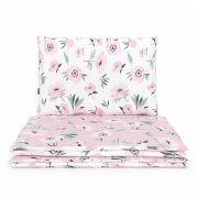 Dreamy babaágynemű 90x120cm 2 részes huzat - Virágok ekrü és rózsaszín