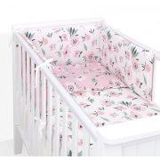 Dreamy 3 részes 90x120cm babaágynemű szett - Virágok ekrü rózsaszínnel