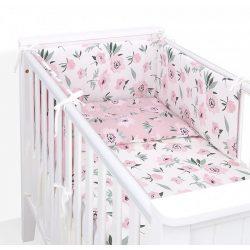 Dreamy 3 részes babaágynemű - Virágok ekrü rózsaszínnel
