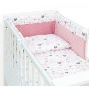 Dreamy 3 részes babaágynemű - Szívecskék rózsaszín velvettel