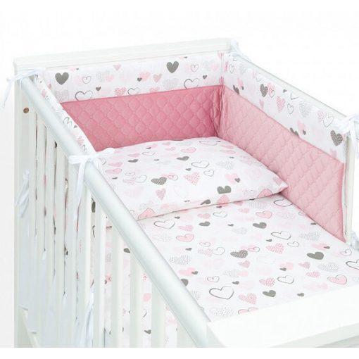 Dreamy babaágynemű garnitúra 3 részes szett - Szívecskék rózsaszín velvettel