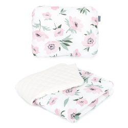 Steppelt bársonyos velvet takaró és párna szett  - Virágok ekrü bézs velvettel