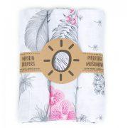 Dreamy muszlin textil pelenkacsomag - Szürke tollas és virágos variáció