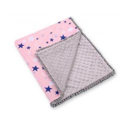 Minky takaró - Csillagok rózsaszín kék szürkével