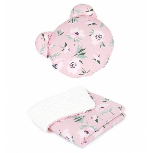 Dreamy babaágynemű szett Maci párnával  - Virágok fehér velvettel